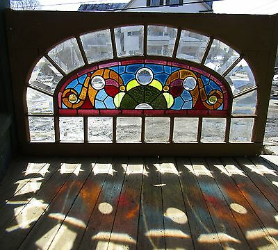 Antique Stained Combination Window With Beveled Panes