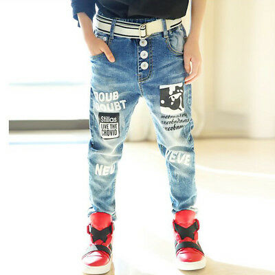 Boy Jeans Fashion Trend Children's Jeans Printing Trousers Age 3-8Years 4893HC