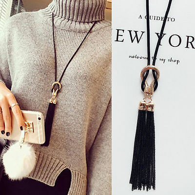 Fashion Women Exquisite Jewelry Black Chain Tassel Sweater Long Chain Necklace G