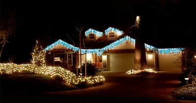 8.9M 360 Led White&blue Solar Icicle Christmas Lights With 8 Functions