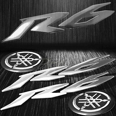 "6"" ABS 3D Logo Emblem+2"" Fairing/Fender/Tank Badge Sticker for YZF-R6/R6S Chrome"