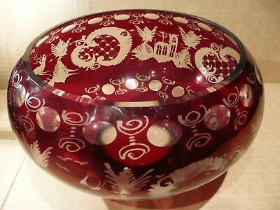 Magnificent Large Ruby Red Bohemian Glass Bowl  Stag & Swallow Pattern