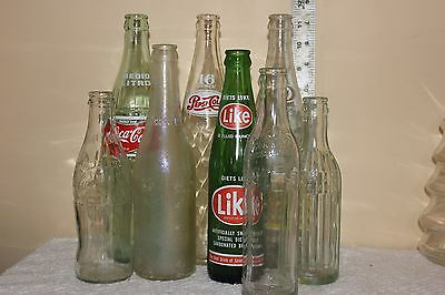 Vintage Pop Soda Coca Cola Pepsi Bottles A & W Canada Dry Lot of 8