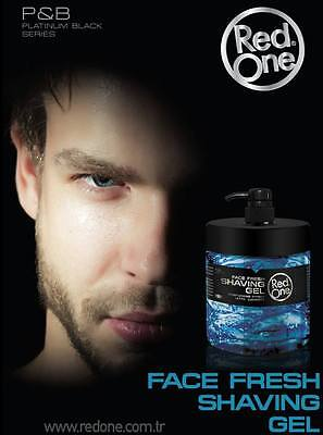 NEW RedOne Shaving Gel Platinum Black Series 1 Litre With Pump For Easy Use