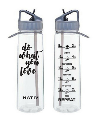 Grey NATIV motivational water bottle with times markings, BPA free