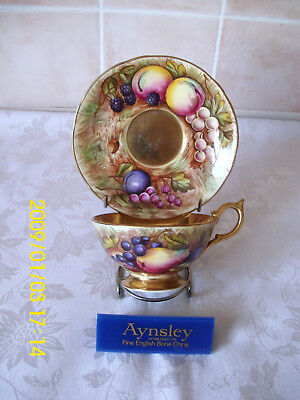 Vintage Fruit Orchard Gold Trimmed Aynsley Cup And Saucer Set Signed D Jones
