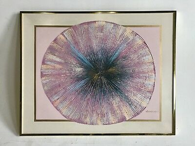 VINTAGE MIDCENTURY 80s REVIVAL SUNBURST STARBURST REGENCY PICTURE PAINTING ART