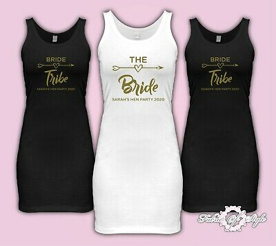 Hen Do Party Bride Tribe 2018 Personalised T-shirt Ladies Stretch Vest Dress