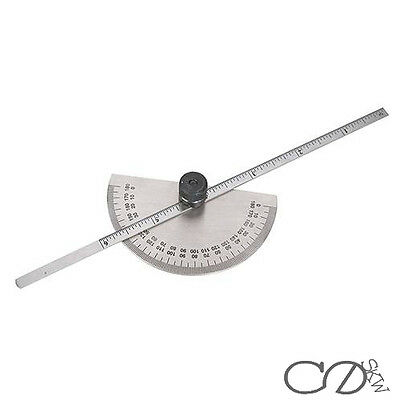 Engineers Protractor With Depth Gauge Marking Measuring Angles Mitres