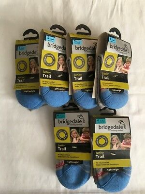 NEW NOS Bridgedale Lot of 6 Pair Junior Trail Lightweight Socks S & M Made in UK