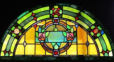 Antique Arch Top Stained Glass Window - Rose Center