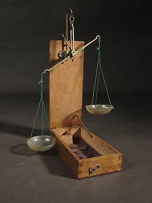 a original pair of traveling scales in wooden box 19th century
