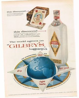 1956 GILBEY'S GIN Globe Henry VIII on Playing Cards Vtg Print Ad