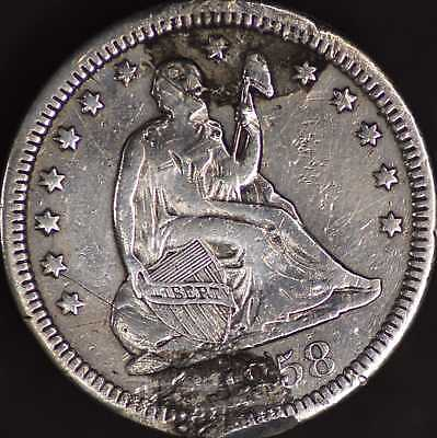 Love Token on A 1858 Seated Liberty Quarter