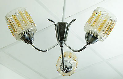 vintage french art deco chrome ceiling lamp CHANDELIER with 3 amber glass shades