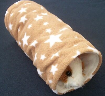 COZY PETS guinea pig tunnel bed house rat,ferret,fleece play,tube,brown star