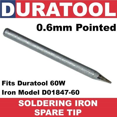 0.6mm Pointed Soldering Iron Tip 79-2310 for 60W Duratool D01847-60 SD01127