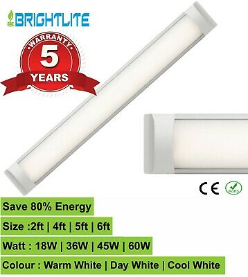 LED BATTEN SLIM LINE TUBE LIGHT WALL OR CEILING MOUNT 4ft 5ft 6ft HIGH LUMENS