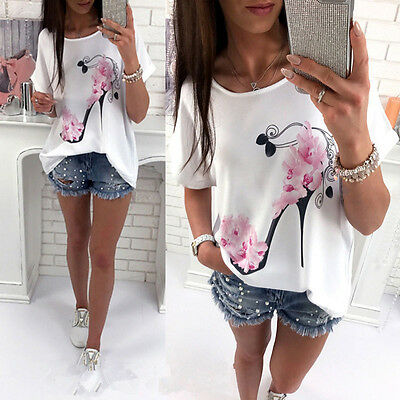 Women Short Sleeve Summer Floral Casual Tank Vest Loose Blouse Tunic Top T-Shirt