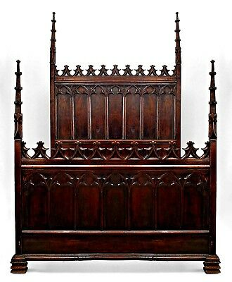 English Gothic Revival Style (19th Cent.) Walnut Full Size Bed