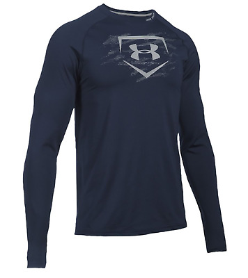 Under Armour 3942 Gym Mens Fitted Baseball Training Long Sleeve Shirt Navy Gray