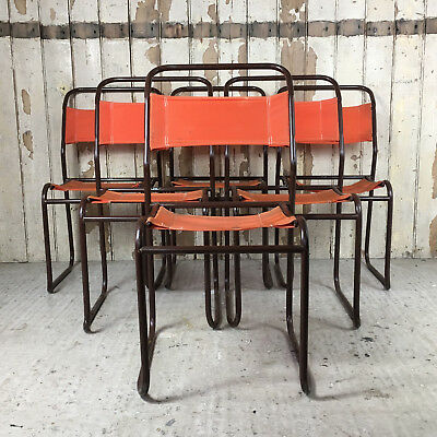 6 Vintage Retro DUAL Steel Stacking Chairs Dining Table Orange Funky Midcentury