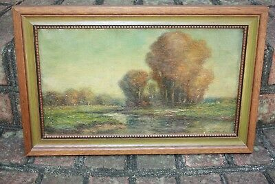 Antique F Leo Hunter Signed Oil Painting Original Fall Scene Creek Landscape
