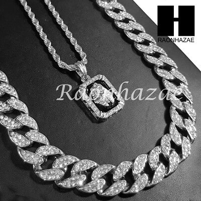 """14k White Gold King-Tut Pendant 15mm Iced Out Miami Cuban 30"""" Necklace SET S192S"""