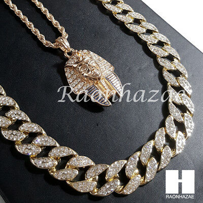 """New 14k Gold PT King-tut Pendant 15mm Iced Out Miami Cuban 30"""" Necklace SET 201G"""