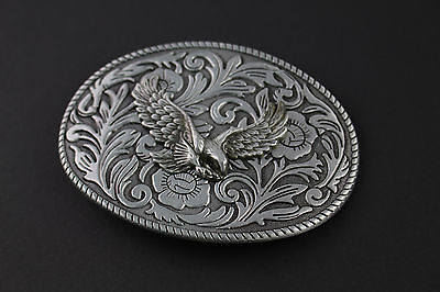 Grey Oval Floral Pattern Eagle Belt Buckle Metal American Western Country