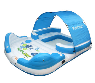 Inflatable 6 Person Floating Island Canopy Shade Lounge Float Water Cooler Party