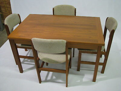 """Benny Linden Danish Modern Style Teak Extension 91"""" Table & Four Chairs"""