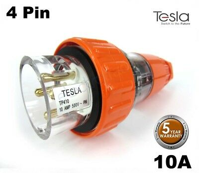 Tesla 10 AMP 3 Phase 4 Pin Round Extension Plug