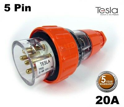 Tesla 20 AMP 3 Phase 5 Pin Round Extension Plug