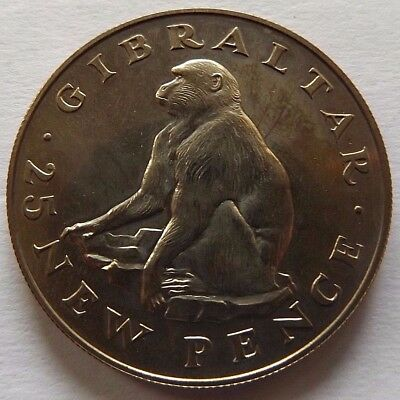 1971 Gibraltar Silver Proof 25 Pence Crown! Only 20,000 Minted! Barbary Ape!