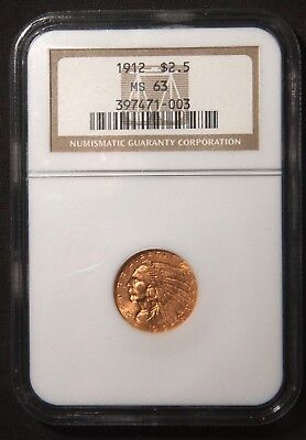 1912 $2.5 Indian Head Quarter Eagle Gold Coin  Ngc Ms63 Lot 081057