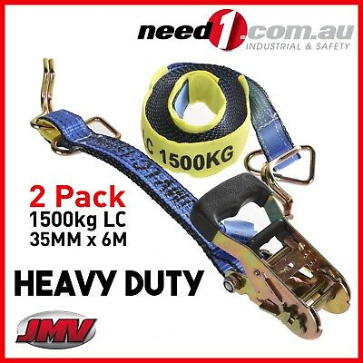 (2 Pack) Ratchet Strap Tie Down Assembly   35mm x 6M   LC 1500kg   Hook & Keeper