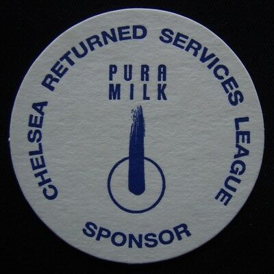 Chelsea Resturned Services League Sponsor Pura Milk Coaster (B307)