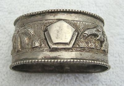 Antique Silver Elephant Napkin Ring Oval In Shape Raised or Pressed Decorations