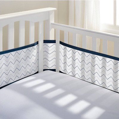 NIB Breathable Baby Chevron Navy Mesh Crib Liner/Bumper Fits Most Cribs