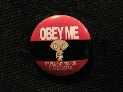 """family Guy"" New Official Button Badge Pin Uk Import "" Obey Me """