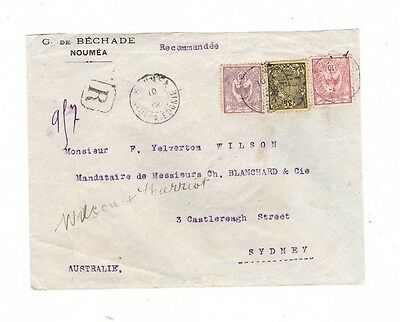 New Caledonia 1912 Cover to Australia , cds NOUMEA  & SYDNEY    SCARCE COVER