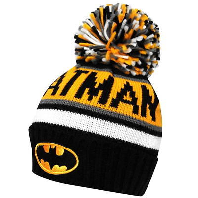 Mens Black Yellow White Grey Officially Licensed Batman Wooly Winter Bobble Hat