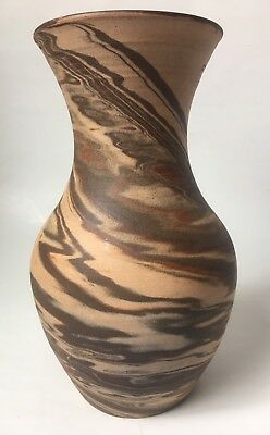 Evans or Niloak Brown Mission Swirl Pottery Vase Unsigned 10""