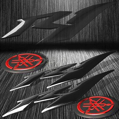 "6"" Black ABS 3D Logo Emblem+2"" Fairing/Fender Badge Sticker for YZF-R1/R1S Red"