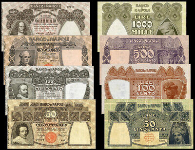 !copy! Italy Kingdom 50, 100, 500, 1000 Lire 1909-1915 Banknotes !not Real!