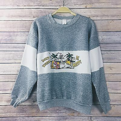 Vintage 80s 90s Don't Worry Reggae Disney Donald Duck Sweatshirt Size M