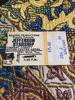 JEFFERSON STARSHIP Ticket Stub Fort Worth Texas 1976 Tarrant County Convention