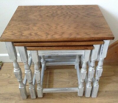 shabby chic vintage solid wood nest of 3 tables painted in Paris grey and waxed
