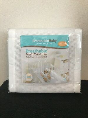 BreathableBaby Breathable Baby Mesh Crib Liner White Brand New